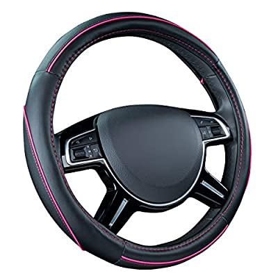 CAR PASS Colour Piping Leather Universal Fit Steering Wheel Cover,Perfectly fit for Suvs,Vans,Trucks,Sedans,Cars (Black and Pink): Automotive