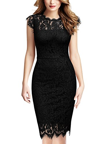 Miusol Women's Retro Floral Lace Slim Evening Cocktail Mini Dress