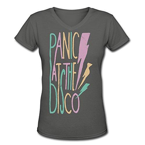 Mako62 Womens Panic At The Disco Logo V-Neck T Shirts Small DeepHeather (Panic At The Disco Pretty Odd T Shirt)