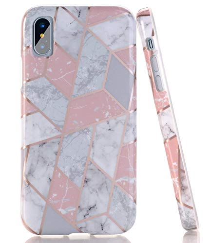 BAISRKE Shiny Rose Gold Lines Pink Geometric Marble Case Slim Soft TPU Rubber Bumper Silicone Protective Phone Case Cover Compatible with iPhone X/iPhone Xs [5.8 inch]