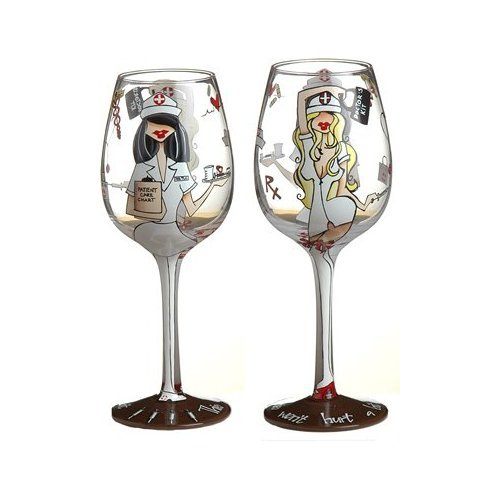 Bottom's Up 15-Ounce TLC Handpainted Wine Glass -