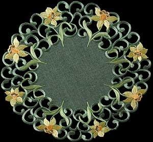 Doilie (large) in a Daffodil Davina Design in Green Celtic Wedding Cake