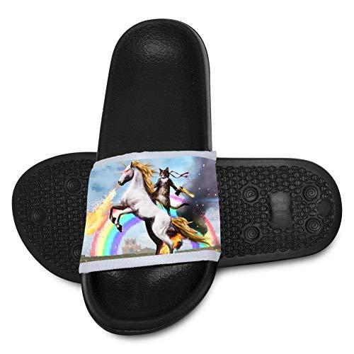 - Cat Mounted On Unicorn Kids Summer Slide Slippers Shoes Outdoor Indoor Sandals Boys Girls Black