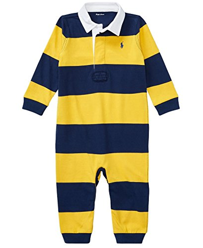 Ralph Lauren Baby Boys Striped Cotton Rugby Coverall (6 Months, Mountain Gold Multi)
