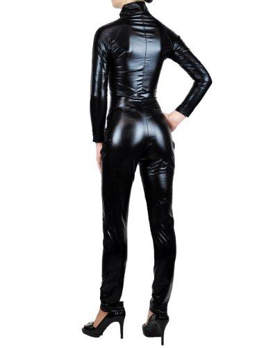 NawtyFox Sexy Black Metallic Wet Look Fetish Bodysuit Catsuit Costume-Reg and Plus Size