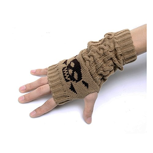 Flammi Skull Jacquard Cable Knit Fingerless Gloves Thumb Hole Gloves Mittens Arm Warmers for Women & Men