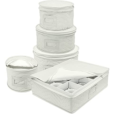 Sorbus Dinnerware Storage 5-Piece Set for Protecting or Transporting Dinnerware — Service for 12 — Round Plate and Cup Quilted Protection Bins, Includes Felt Protectors for Plats, Fine China Case
