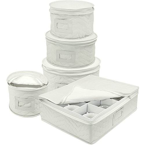 (Sorbus Dinnerware Storage 5-Piece Set for Protecting or Transporting Dinnerware - Service for 12 - Round Plate and Cup Quilted Protection, Felt Protectors for Plates, Fine China Case (Beige))