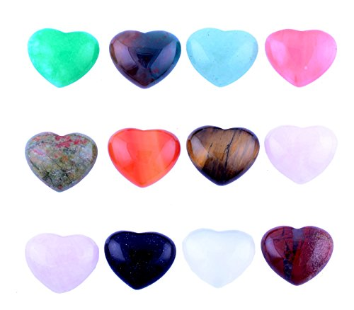 Heart Stone Cabochon Love Chakra Crystal Beads Gemstone CAB Healing 15pcs 18mm Crystal Quartz Stone Random Color Wholesale for Jewelry Making(No Holes)