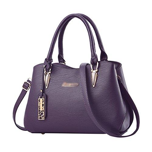 Baymate Vintage Bolsa de mensajero de las señoras Vintage Bolso de PU Cuero Bolso Tote Bag Bolsa De Hombro Morado oscuro