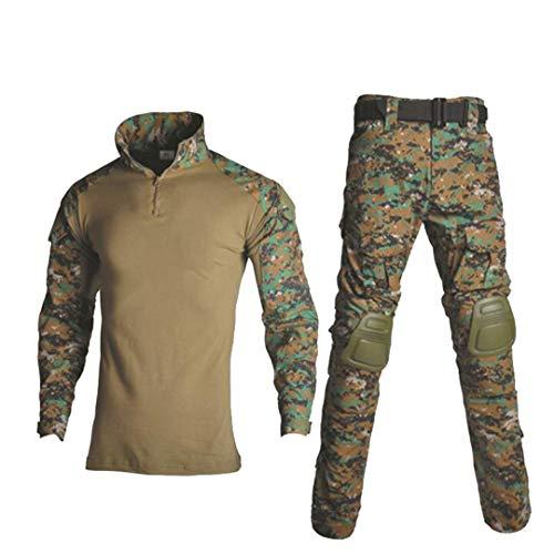 Uniforme militaire tactique camouflage pour homme avec chemise de combat + pantalon cargo genouillères 6