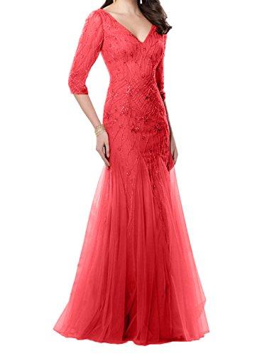 Brautmutterkleider Festlichkleider Charmant V Neu Rot Damen langarm ausschnitt Abendkleider Meerjungfrau xf4XfSwq