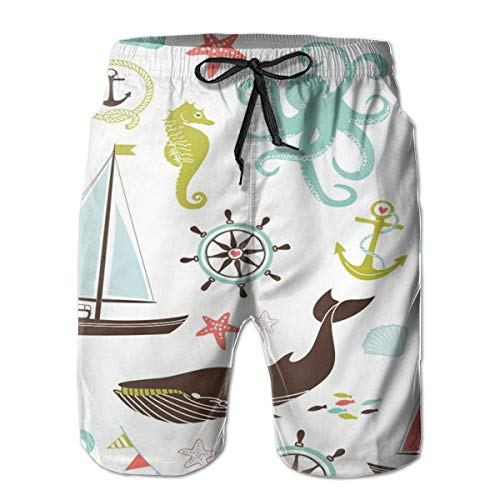 (HIPGCC Man Comfortable Summer Outdoor Seaside Beach Shorts The Whale Swam Between The Sailboats White)