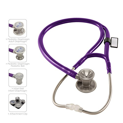 MDF ProCardial C3 Cardiology Stainless Steel Dual Head Stethoscope with Adult, Pediatric, and Infant-Neonatal Convertible Chestpiece - Purple (MDF797CC-08) ()