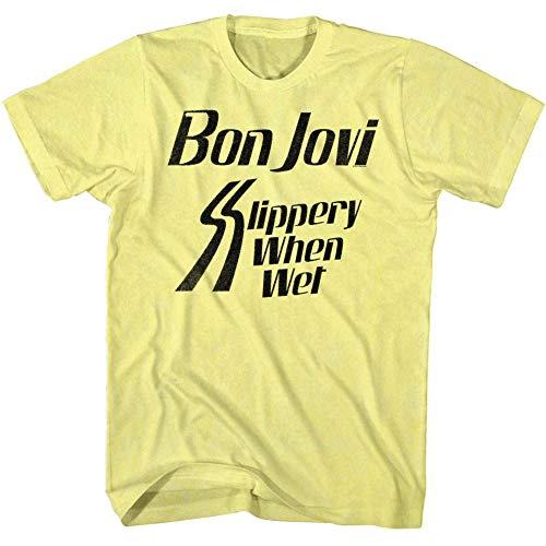Bon Jovi Halloween Shirt (Bon Jovi Rock Band Slippery When Yellow Heather Adult T-Shirt)