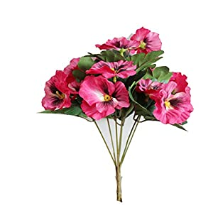 1X Bouquet Artificial Simulation Silk Flower Pansy Artificial Plant Wedding Party Home Hotel Table Decoration Rose Red 42