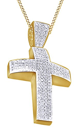 Round Cut Cubic Zirconia Cross Hip Hop Pendant in 14k Yellow Gold Over Sterling Silver (2.44 Cttw) by AFFY