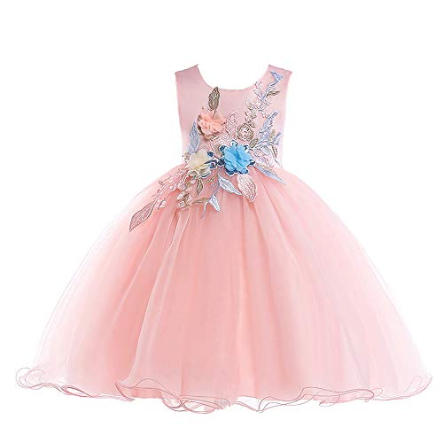 Princess Gowns Style Prom (Girls Dresses Pink Embroidery Vestidos De Ninas Elegant Pageant Princess Prom Kids Wedding Dress 3t M01pink110)