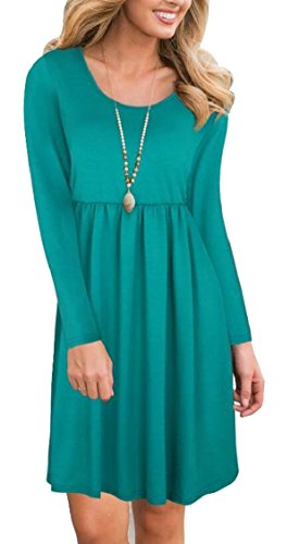 Jaycargogo Femme T Robe Chemise Tunique Solide Casual Manches Longues Robes Midi Vert