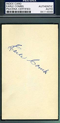 EARLE COMBS PSA DNA COA Autograph 3x5 Signed Index Card