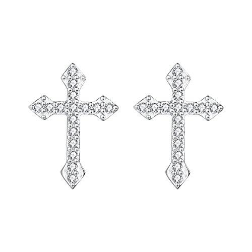 AoedeJ Cross Stud Earrings Sterling Silver Cubic Zirconia Religious Cross Earrings Stud for Women and Men (Style 6)