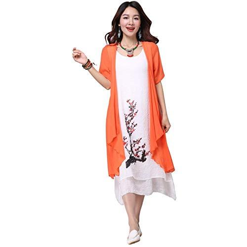 Vivian Inc New Summer Dress Women Clothing Small Fresh Long Dress Fake Two Pieces Dress (Orange,4XL)