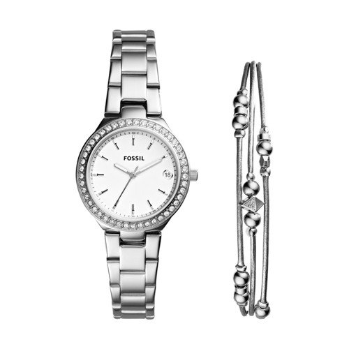 Fossil Women's 'Blane' Quartz Stainless Steel Casual Watch, Color:Silver-Toned (Model: ES4336SET)