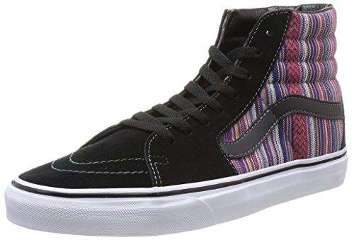 Vans SK8 Hi Guate Weave Black/Multi Unisex Adult Classic Skate Shoes (5 Men's/6.5 Women's)