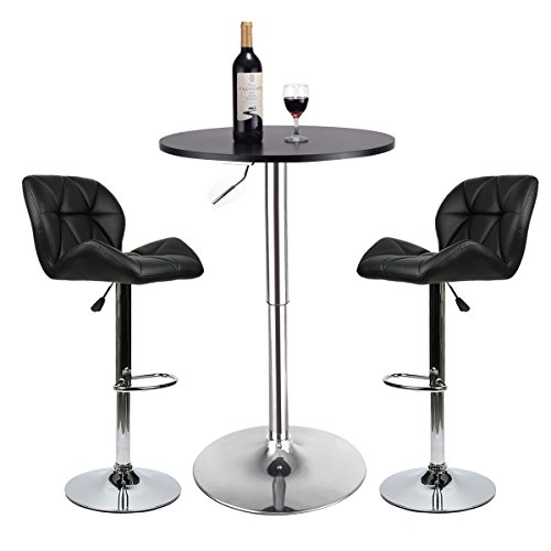 Bar Table Set of 3 – Adjustable Round Table and 2 Swivel Pub Stools for Home Kitchen Bistro, Bar ...