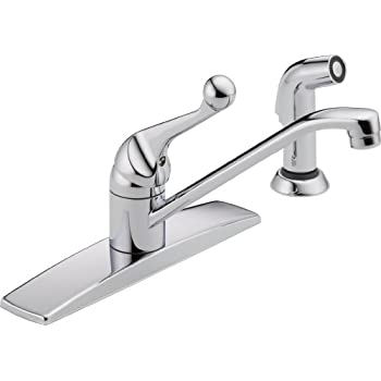 Delta Faucet 400LF WF Classic, Single Handle Kitchen Faucet With Spray,  Chrome