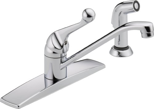 Delta Faucet Classic Single-Handle Kitchen Sink Faucet with Side Sprayer in Matching Finish, Chrome 400LF-WF