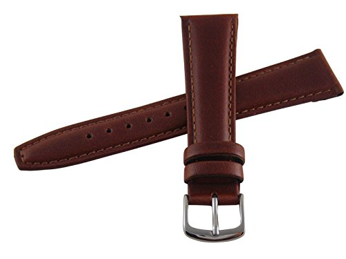 Medium Leather Watch Strap - Hadley-Roma Men's MSM881RAC-170 17-mm Honey Oil-Tan Leather Watch Strap