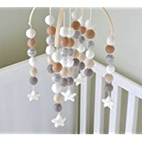 """Handmade Baby Nursery Mobile in Neutral Colors Made with Natural Materials 15"""" Tall 10"""" Wide"""