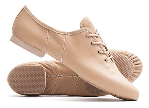 All Jive Practice Nude Dance Katz Cerco PU Jazz Shoes Sole Rubber Split Sizes Lace Modern Tan By Dancewear Up Sz8wzq