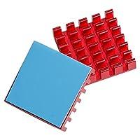 AKK 10pcs Red Aluminum Heatsink Cooling Fin Cooler Circuit Board with 19x30mm Thermal Tape
