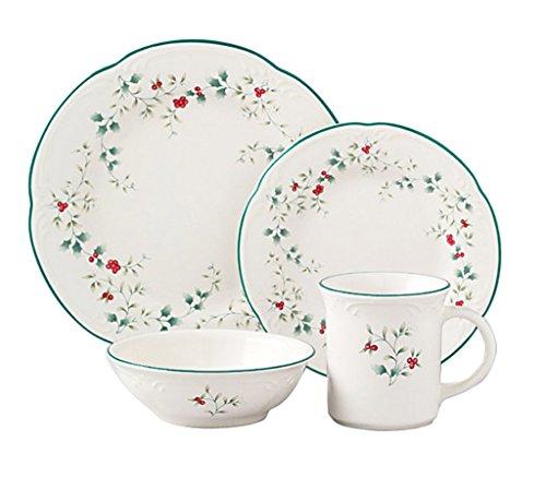 16-Piece Christmas Dinnerware Set, Winterberry Design, Crafted Of Stoneware (Discount Christmas Dinnerware Sets)