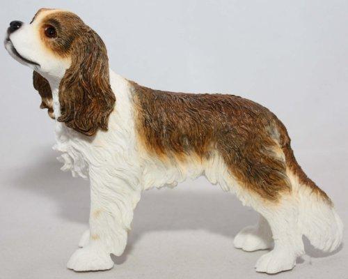 Cavalier King Figurine Charles (Dog Studies Brown & White Cavalier King Charles Spaniel Dog Ornament)