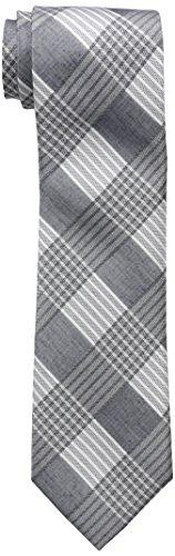 Calvin Klein Men's Schoolboy Maxi Windowpane Tie, Silver, One Size