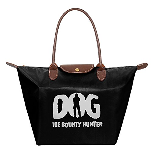 Dog The Bounty Hunter Waterproof Foldable Tote Bags Shopping Beach Shoulder Handbags Purse Tote Shoulder Bag Black