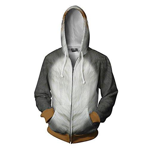 VOSTE Porglet Hoodie 3D Printed Hooded Zipper Sweatshirt Halloween Cosplay Jacket (Large, Color 1) by VOSTE (Image #1)