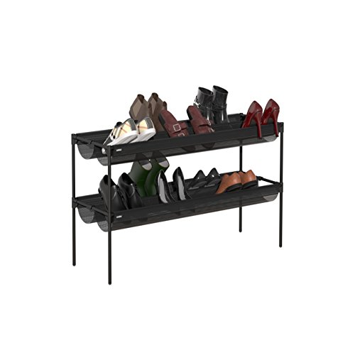 Umbra Shoe Sling, Stacking Shoe Rack Organizer - Two-Tiered Shoe Rack with Textile Slings, Holds up to 16 Pairs of Shoes, Black