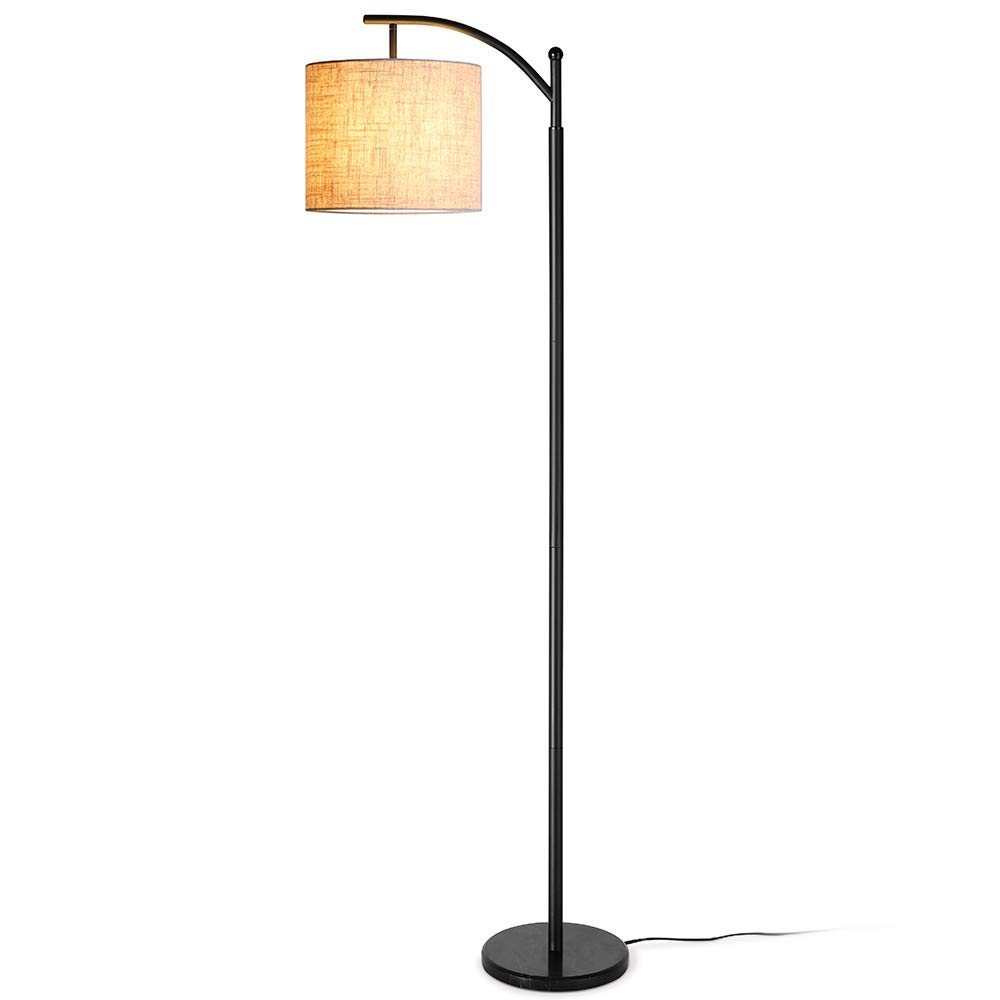 Zanflare LED Floor Lamp-Classic Arc Floor Lamp with Hanging Lamp Shade, Uplight Lamp for Living Room,Bedroom,Den Office, Energy Saving Bedside Lamp with Long Lasting,Black