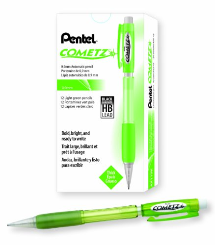 Pentel Cometz Automatic Pencil, 0.9mm, Light Green Barrel, Box of 12 (AX119K) Pentel Cometz Automatic Pencil