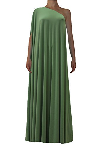 E K Sexy one Shoulder Maxi Dress Plus Size Long Formal Evening Floor Length gown-10X-1X-Sage Green