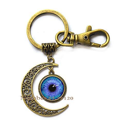 - Eye Ball Moon Keychain,Dinosaur Eye Jewelry,Third Eye Key Ring,Dinosaur Eye,Cats Eye,Eyeball Moon Keychain,BV129 (V2)
