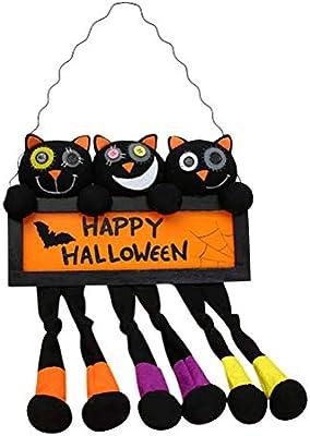 Amosfun Halloween Dessin Animé Chat Conseil Signe Porte