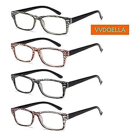 VVDQELLA 4 Pack Gafas Presbicia 1.0 Hombres Mujeres Montura a Rayas Multicolores Gafas Lectura para PC, Phone, TV, Calidad y Cómodo, Lentes Premium y ...