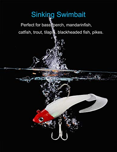 6-Pack 6 Colors Facikono Lures for Bass Jig Head Soft Swimbait