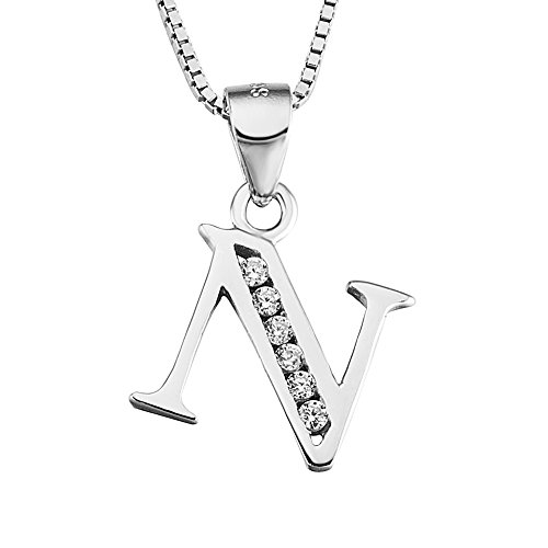Sterling Zirconia Alphabet Personalized Necklace