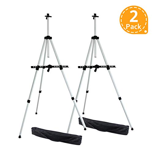 (Artist Easel, Ohuhu 2-Pack Aluminum Field Easel Stand with Carrying Bag for Table-top/Floor, Art Easels with Adjustable Height from 21-Inch to 66-Inch, Back to School Art Supplies)